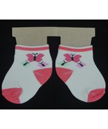 Baby Infant Toddler Girls Ankle Socks Coral Pink Butterflies 6-12 months? - $0.99