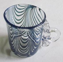 "Vintage Murano Style Blue Swirl Handblown ""Mug"" With Designed Glass Hand... - $69.99"
