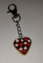Heart Donut Keychain Frosted Decorated Donut Charm Accessory Clip On - $7.50