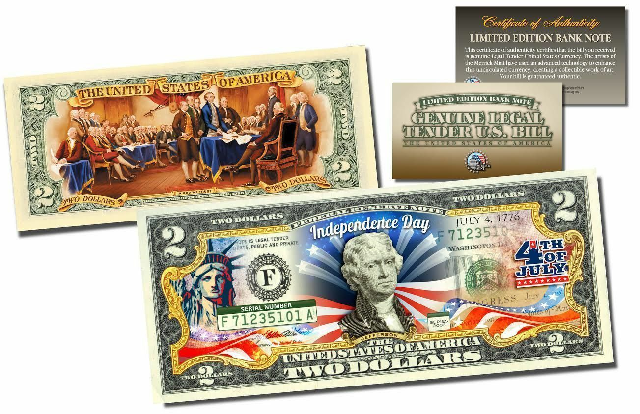 USA 2 Dollar Bill Official July 4th Independence Day 2-Sided Tende Certificated