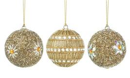 Christmas Ornament, Golden Beaded Plastic Round Modern Glass Christmas O... - $33.99