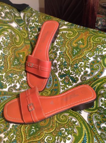 5f52c9a14 12. 12. Previous. MONTEGO BAY CLUB LEATHER COLLECTION ORANGE SANDALS  WOMEN S SIZE 7M SLIP ON SHOES