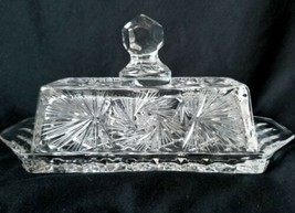 Antique American Brilliant ABP Cut Crystal Butter Dish Mega Cuts Pinwheels Stars - $61.70