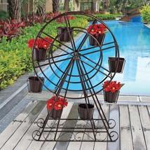 Metal Ferris wheel Sculptural Planter with Matching Pots - $226.86
