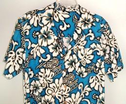Vtg TRIPLE CROWN OF SURFING Blue Hawaiian Aloha Barkcloth Shirt M Made i... - $39.95