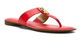 Women's Michael Michael Kors Hamilton Flat Thong Sandals Leather Coral Reef - $62.99