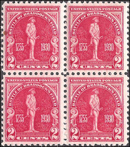 1930 Massachusetts Bay Colony Block of 4 US Stamps Catalog Number 688 MNH