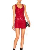 Side Lace Women Mini Leather Dress