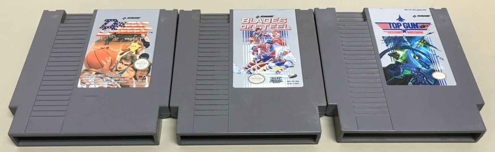 Blades of Steel, Top Gun, Double Dribble 3 NES Konami Game Lot Nintendo