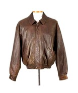 Coach Brown Leather Bomber Jacket Mens Size XL Zip Up Collar Vtg 1990s C... - $232.64