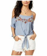 Polly & Esther Juniors' Embroidered Cold-Shoulder Tie Front Summer Top N... - $8.64