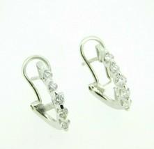 14k White Gold .37ct Genuine Natural Diamond Huggie Hoop Earrings (#J4319) - $395.00