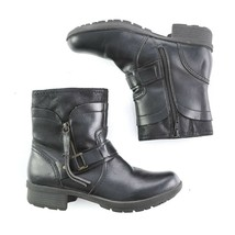 Clarks Collection Black Pebbled Leather Ankle Boots Booties Size Zipper ... - $39.43