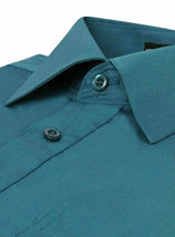 Omega Italy Teal Classic Fit Standard Cuff Solid Dress Shirt - 3XL image 3