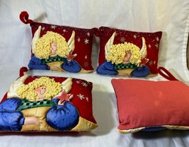 Christmas Decorative Ornaments Mini Pillows 3D Angels Set of 4. - $8.95