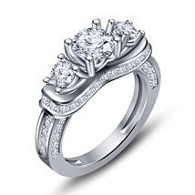 Fashion Jewelry White Sim Diamond .Sterling Silver Engagement Three Stone Ring - £52.92 GBP