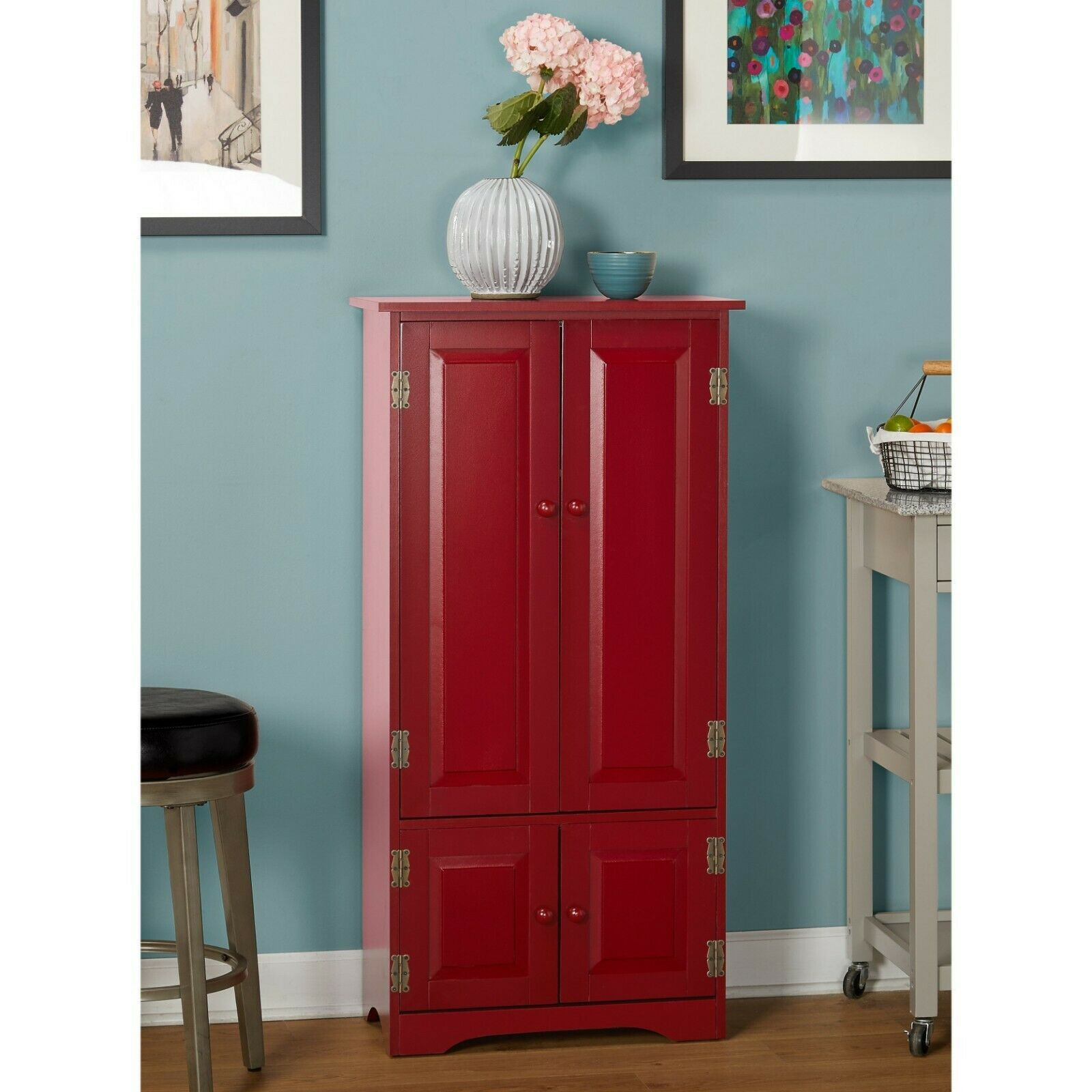 Tall White Storage Cabinet Kitchen Pantry Cupboard China ...