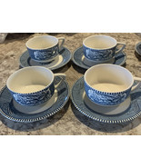 4 Cups It Royal Carrier And Ives Cups And Saucers Blue Round Handles Gir... - $22.31