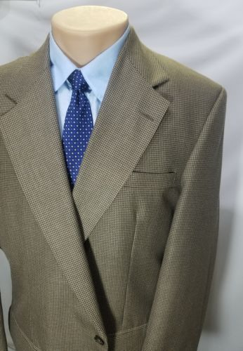CITY CASUALS BY HAGGAR MEN'S SPORT COAT HOUNDSTOOTH BEIGE POLYESTER WOOL 44L EUC