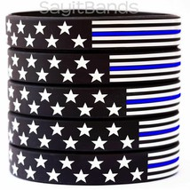Flag thin BLUE line wristbands - Wholesale lot of Police Bands you pick ... - $5.82+