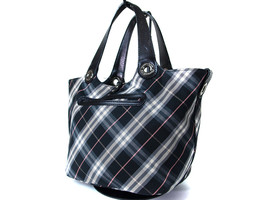 Auth BURBERRY LONDON BLUE LABEL Black Canvas, Leather Reversible Tote Bag - $143.55