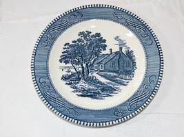 """Vintage Royal Currier & Ives Harvest Birthplace Blue White 7 1/4"""" Salad ... - $20.78"""