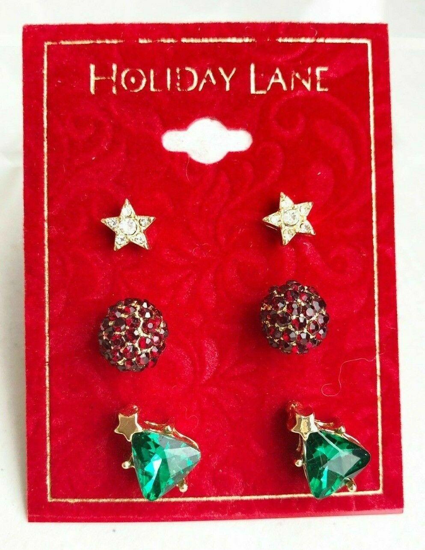 Holiday Lane Goldton 3-Pc Set Kristall Star Kugel & Weihnachtsbaum Ohrstecker