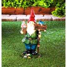 Solar Bluebird Gnome Welcome Statue - $29.85