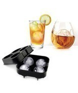 ICE Balls Maker Round Sphere Tray Mold Cube Whiskey Ball Cocktails Silicone - £3.99 GBP
