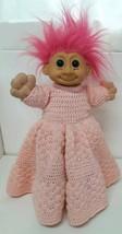 #2318 Russ Troll Kidz Pink Hair Custom Homemade Crocheted Dress Vtg Luck... - $29.69