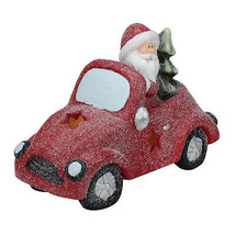 Northlight LED Red Magnesia Glitter Car Santa Claus Christmas Table Decor - $27.22