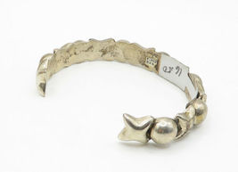 MEXICO 925 Silver - Vintage Hugs & Kisses XO Smooth Cuff Bracelet - B6215 image 3