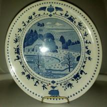 "Charles Wysocki Americana Nikko Blue White Folk Art 8.25"" Salad Plate - $7.70"