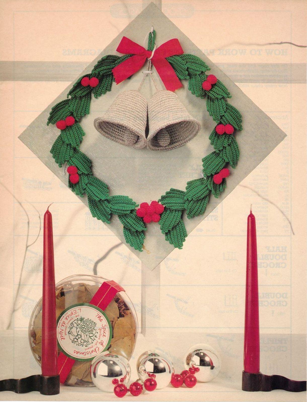 Colorful Christmas BELL WREATH Irish Crochet Pattern