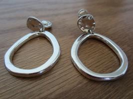 Vintage Hoop Signed HMN Abstract Sculptural Mid-Century Modern Earrings - $14.52