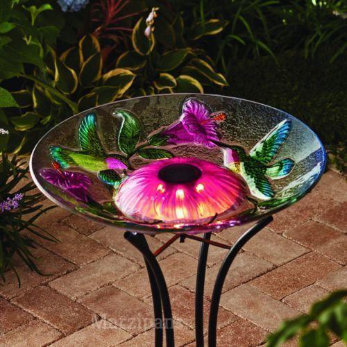 "SOLAR LIGHTED BIRD BATH Hand Painted Glass Bowl Garden Yard HUMMINGBIRD 18"""