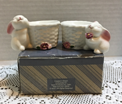 Vintage AVON Rabbit with Woven Basket Candle Holders In Original Box Eas... - $12.05