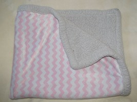 Just Born Pink White Chevron Zig Zag Gray Sherpa Baby Blanket Lovey Security - $44.54