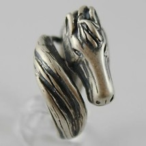 925 SILVER RING BURNISHED WITH HEAD AND TAIL HORSE MADE IN ITALY image 2