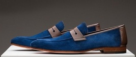 Handmade Mens Round Toe Suede & Leather Shoes, Brown & Navy Color Dress ... - $135.00