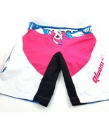 Qloom Pink Black White Padded Cycling Shorts 2 Pc Polyester Spandex Womens Small - $24.57