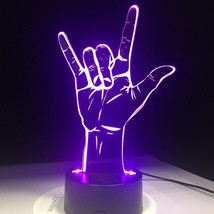 Rock Cool Finger Gesture 3D Illusion Light Lamp Lamplight Neon Sign 2D L... - $26.00