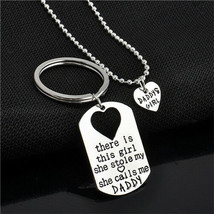 Father Daughter Keychain Dog Tag and Matching Heart Necklace Set , Dad G... - $7.24