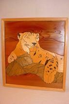 "HANDMADE JIG SAW MARQUETRY WOOD 18 1/2""X 17"" PICTURE LEOPARD BIG CAT JAGUAR - $25.73"