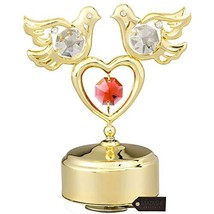Matashi 24K Gold Plated Music Box with Crystal Studded Love Doves Figuri... - $38.54