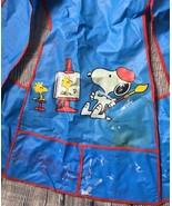 Vintage Snoopy Kids Painting Apron Craft 1965 Charlie Brown Peanuts Blue... - $12.81