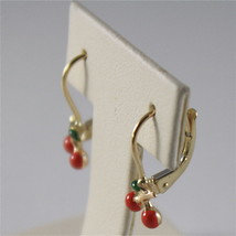 SOLID 18K YELLOW GOLD PENDANT EARRINGS WITH CHERRY, LEVERBACK, MADE IN ITALY image 2