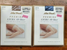 Sears Nice Touch Promise Shaping Control Pantyhose Thi Top Size B OFF BL... - $8.36