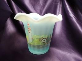 Vtg Fenton Handpainted Blue Marblehead Lighthouse American Gallery Vase ... - $123.75