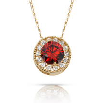 1.90Ct Created Diamond And Garnet Round Halo Charm Pendant 14K Yellow Go... - $69.28+